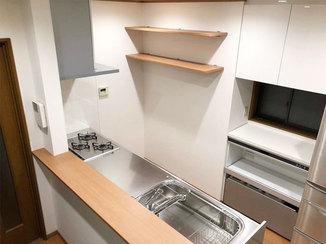 キッチンリフォーム 広々使えて料理がしやすい対面カウンターキッチン